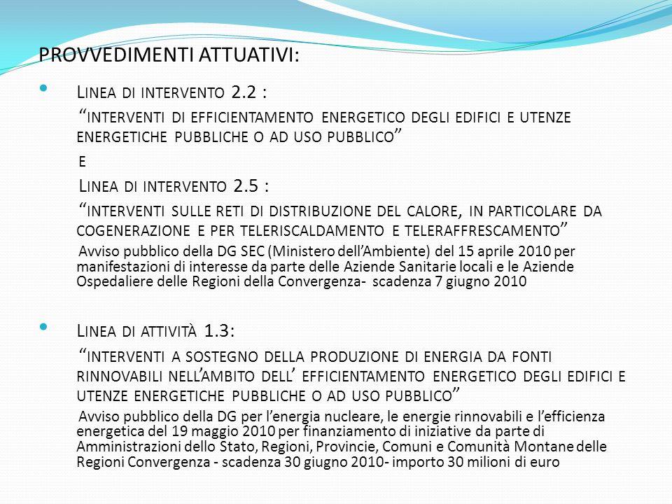PROVVEDIMENTI ATTUATIVI: L INEA DI INTERVENTO 2.2 : INTERVENTI DI EFFICIENTAMENTO ENERGETICO DEGLI EDIFICI E UTENZE ENERGETICHE PUBBLICHE O AD USO PUBBLICO E L INEA DI INTERVENTO 2.5 : INTERVENTI SULLE RETI DI DISTRIBUZIONE DEL CALORE, IN PARTICOLARE DA COGENERAZIONE E PER TELERISCALDAMENTO E TELERAFFRESCAMENTO Avviso pubblico della DG SEC (Ministero dellAmbiente) del 15 aprile 2010 per manifestazioni di interesse da parte delle Aziende Sanitarie locali e le Aziende Ospedaliere delle Regioni della Convergenza- scadenza 7 giugno 2010 L INEA DI ATTIVITÀ 1.3: INTERVENTI A SOSTEGNO DELLA PRODUZIONE DI ENERGIA DA FONTI RINNOVABILI NELL AMBITO DELL EFFICIENTAMENTO ENERGETICO DEGLI EDIFICI E UTENZE ENERGETICHE PUBBLICHE O AD USO PUBBLICO Avviso pubblico della DG per lenergia nucleare, le energie rinnovabili e lefficienza energetica del 19 maggio 2010 per finanziamento di iniziative da parte di Amministrazioni dello Stato, Regioni, Provincie, Comuni e Comunità Montane delle Regioni Convergenza - scadenza 30 giugno 2010- importo 30 milioni di euro