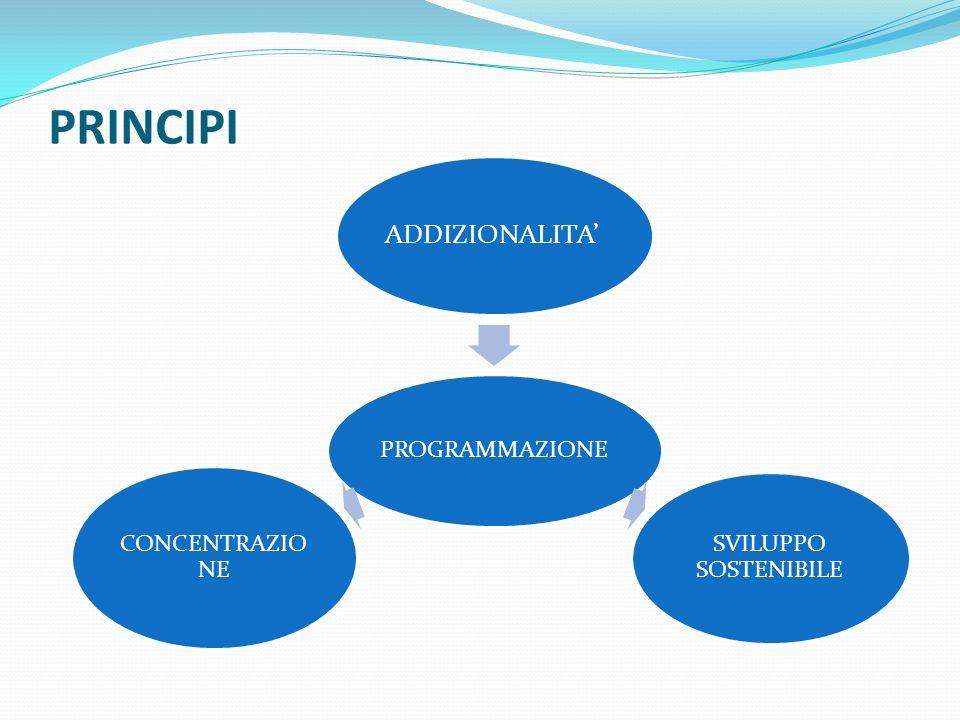 PRINCIPI PROGRAMMAZIONE ADDIZIONALITA SVILUPPO SOSTENIBILE CONCENTRAZIO NE