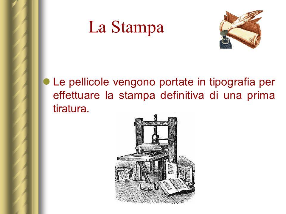 La Stampa Le pellicole vengono portate in tipografia per effettuare la stampa definitiva di una prima tiratura.