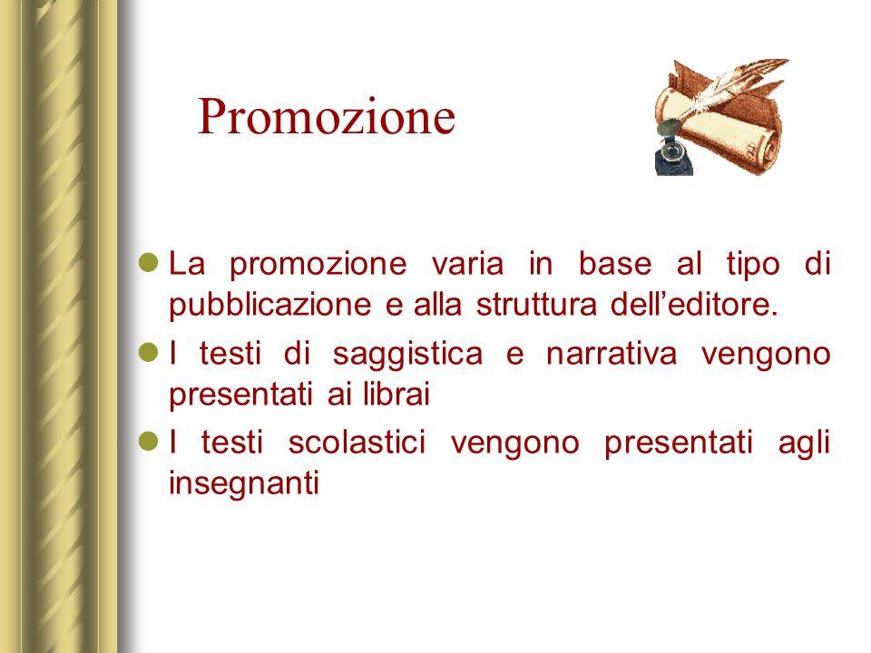 Promozione La promozione varia in base al tipo di pubblicazione e alla struttura delleditore. I testi di saggistica e narrativa vengono presentati ai