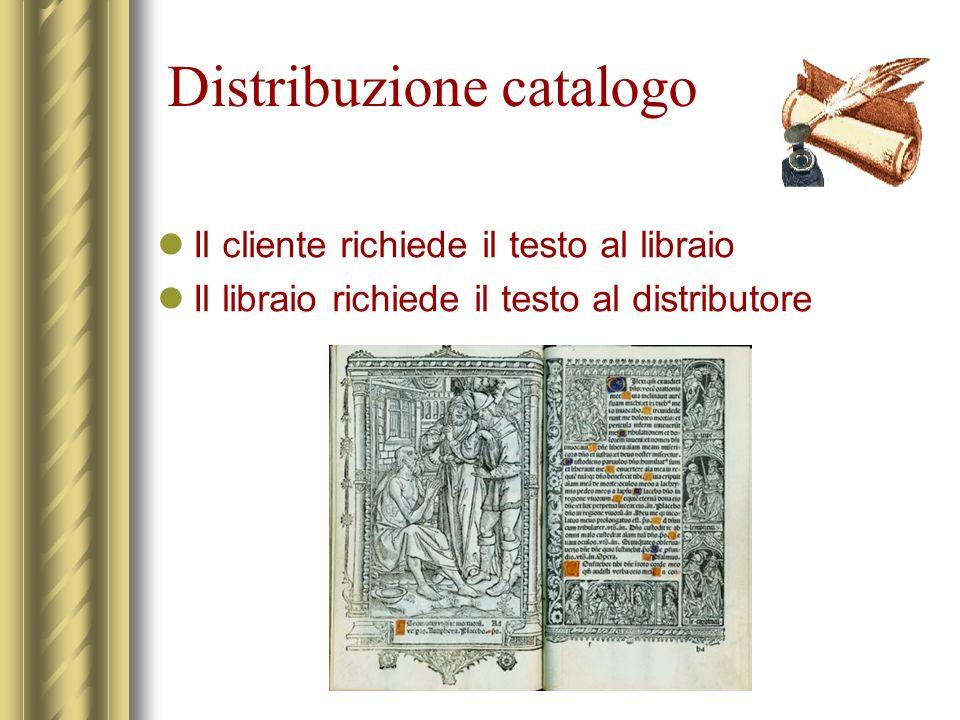 Distribuzione catalogo Il cliente richiede il testo al libraio Il libraio richiede il testo al distributore