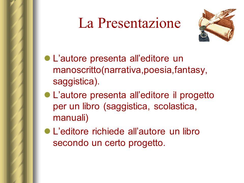 La Presentazione Lautore presenta alleditore un manoscritto(narrativa,poesia,fantasy, saggistica). Lautore presenta alleditore il progetto per un libr