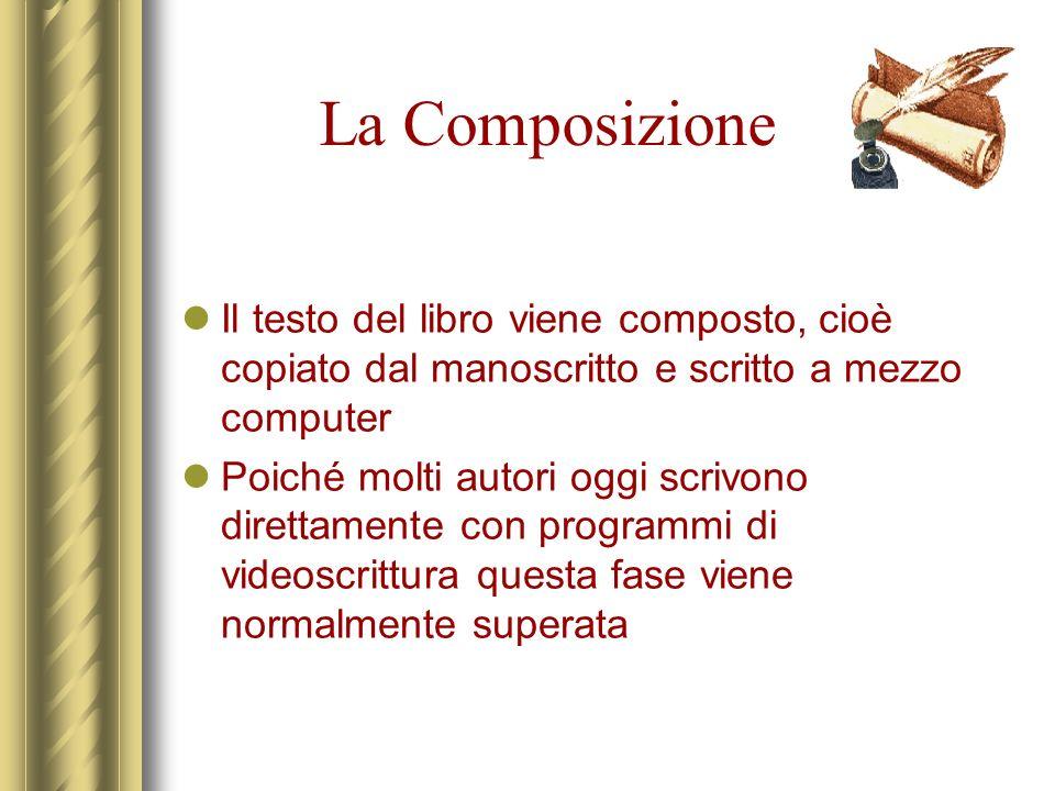La Composizione Il testo del libro viene composto, cioè copiato dal manoscritto e scritto a mezzo computer Poiché molti autori oggi scrivono direttame