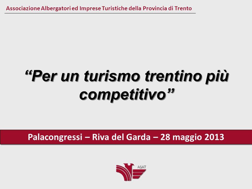 Per un turismo trentino più competitivo Associazione Albergatori ed Imprese Turistiche della Provincia di Trento Il Turismo in Trentino Il prodotto interno lordo generato dalla spesa turistica è pari a 2.520 milioni di euro, che corrisponde al 15.6 % del Prodotto interno lordo provinciale.