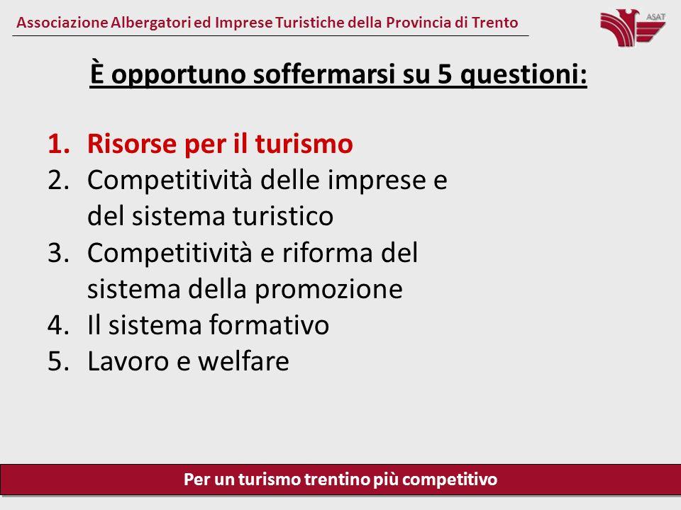 Per un turismo trentino più competitivo Associazione Albergatori ed Imprese Turistiche della Provincia di Trento Risorse per il turismo Bisogna avere il coraggio di individuare e di puntare su quei settori economici che hanno prospettive di crescita significative.