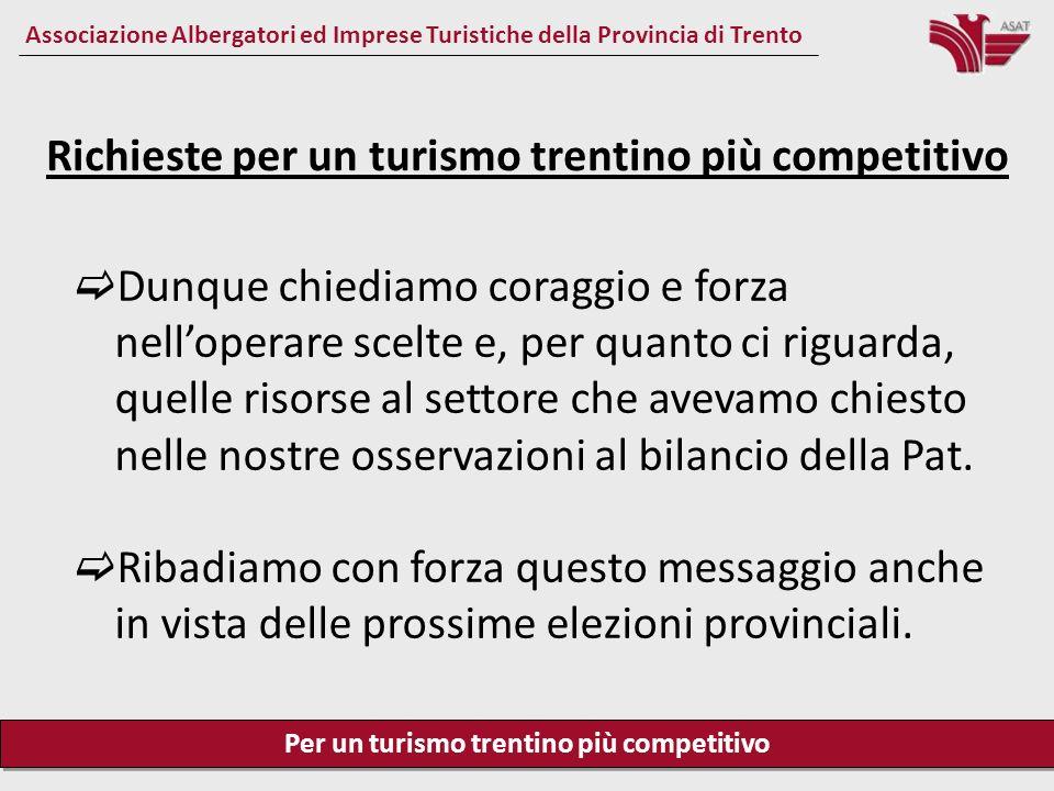 Per un turismo trentino più competitivo Associazione Albergatori ed Imprese Turistiche della Provincia di Trento È opportuno soffermarsi su 5 questioni: 1.Risorse per il turismo 2.Competitività delle imprese e del sistema turistico 3.Competitività e riforma del sistema della promozione 4.Il sistema formativo 5.Lavoro e welfare