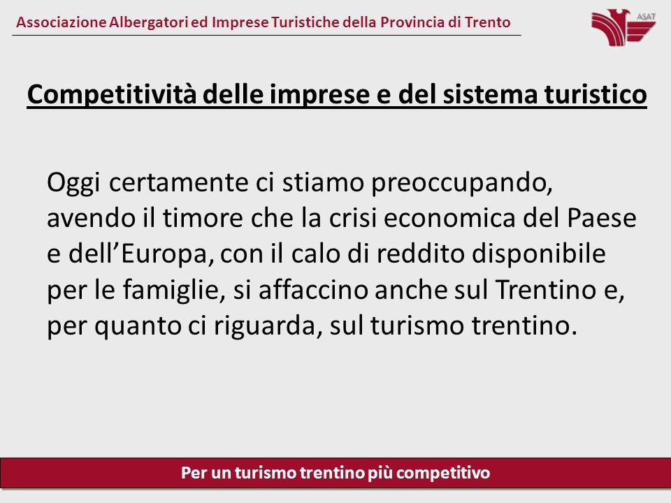 Per un turismo trentino più competitivo Associazione Albergatori ed Imprese Turistiche della Provincia di Trento Competitività delle imprese e del sistema turistico La redditività per limpresa è necessaria per poter investire, crescere, migliorare, produrre e distribuire ricchezza.