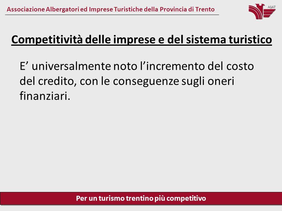 Per un turismo trentino più competitivo Associazione Albergatori ed Imprese Turistiche della Provincia di Trento Competitività delle imprese e del sistema turistico Il prelievo fiscale in Italia sugli utili di impresa è del 54.8 %, in Francia del 44.2 %, in Spagna del 37 %, in Austria del 25 %.