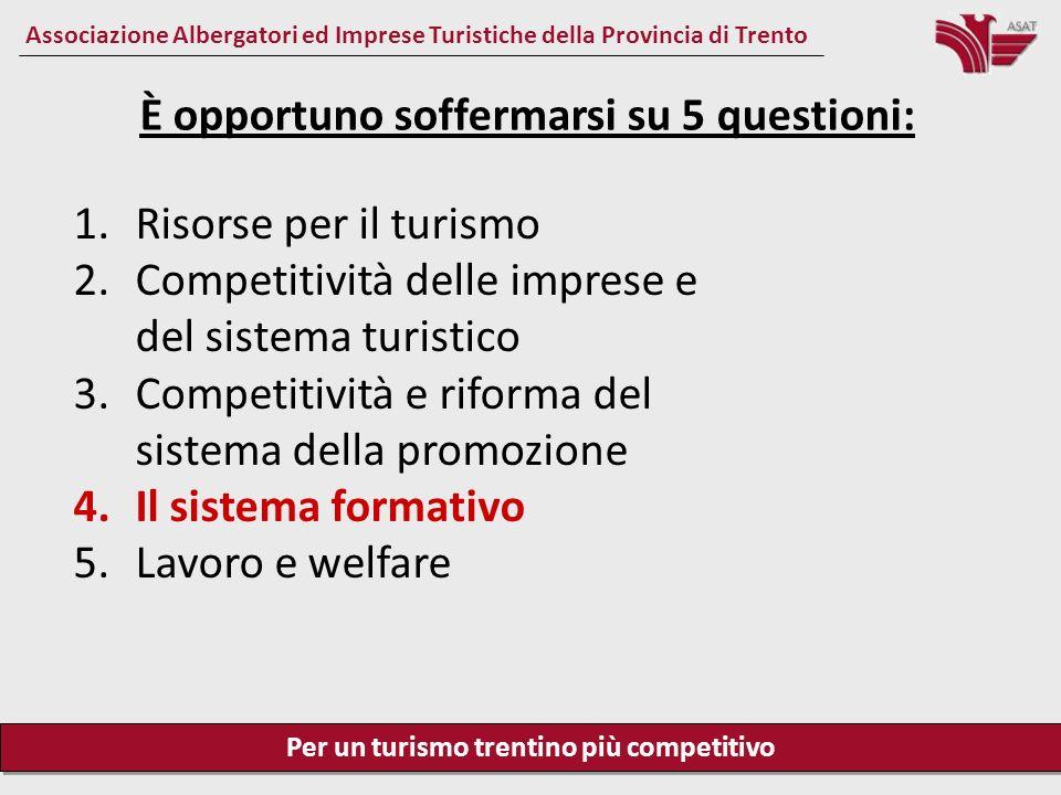 Per un turismo trentino più competitivo Associazione Albergatori ed Imprese Turistiche della Provincia di Trento Il sistema formativo Il sistema formativo e la qualità professionale delle persone formate sono un elemento strategico di competitività in generale e per il turismo trentino.