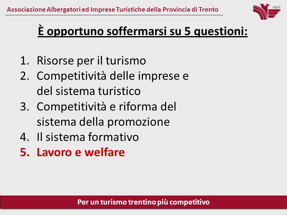 Per un turismo trentino più competitivo Associazione Albergatori ed Imprese Turistiche della Provincia di Trento Lavoro e welfare Una forte modernizzazione del mercato del lavoro è assolutamente opportuna.