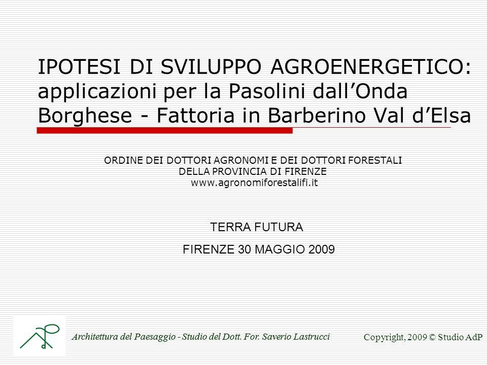 IPOTESI DI SVILUPPO AGROENERGETICO: applicazioni per la Pasolini dallOnda Borghese - Fattoria in Barberino Val dElsa TERRA FUTURA FIRENZE 30 MAGGIO 2009 Architettura del Paesaggio - Studio del Dott.