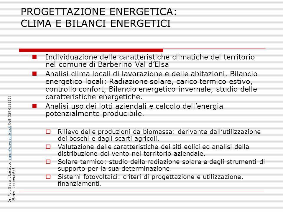 PROGETTAZIONE ENERGETICA: CLIMA E BILANCI ENERGETICI Individuazione delle caratteristiche climatiche del territorio nel comune di Barberino Val dElsa Analisi clima locali di lavorazione e delle abitazioni.