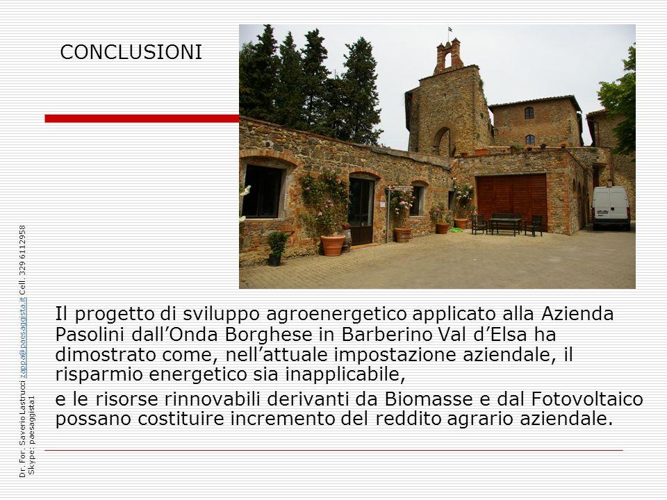 CONCLUSIONI Il progetto di sviluppo agroenergetico applicato alla Azienda Pasolini dallOnda Borghese in Barberino Val dElsa ha dimostrato come, nellat
