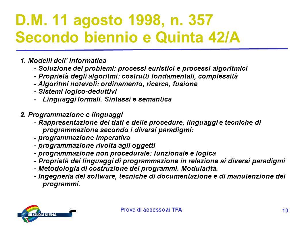 Prove di accesso ai TFA 11 D.M.11 agosto 1998, n.