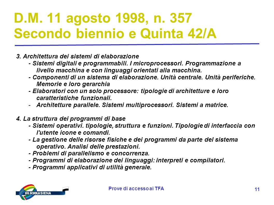 Prove di accesso ai TFA 12 D.M.11 agosto 1998, n.