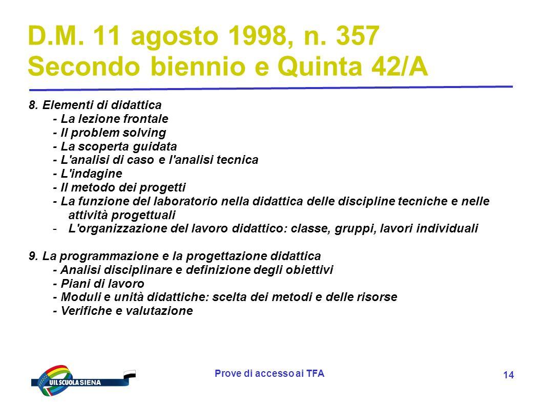 Prove di accesso ai TFA 15 Argomenti delle prove a) dalle indicazioni nazionali, di cui al decreto legislativo 19 febbraio 2004, n.