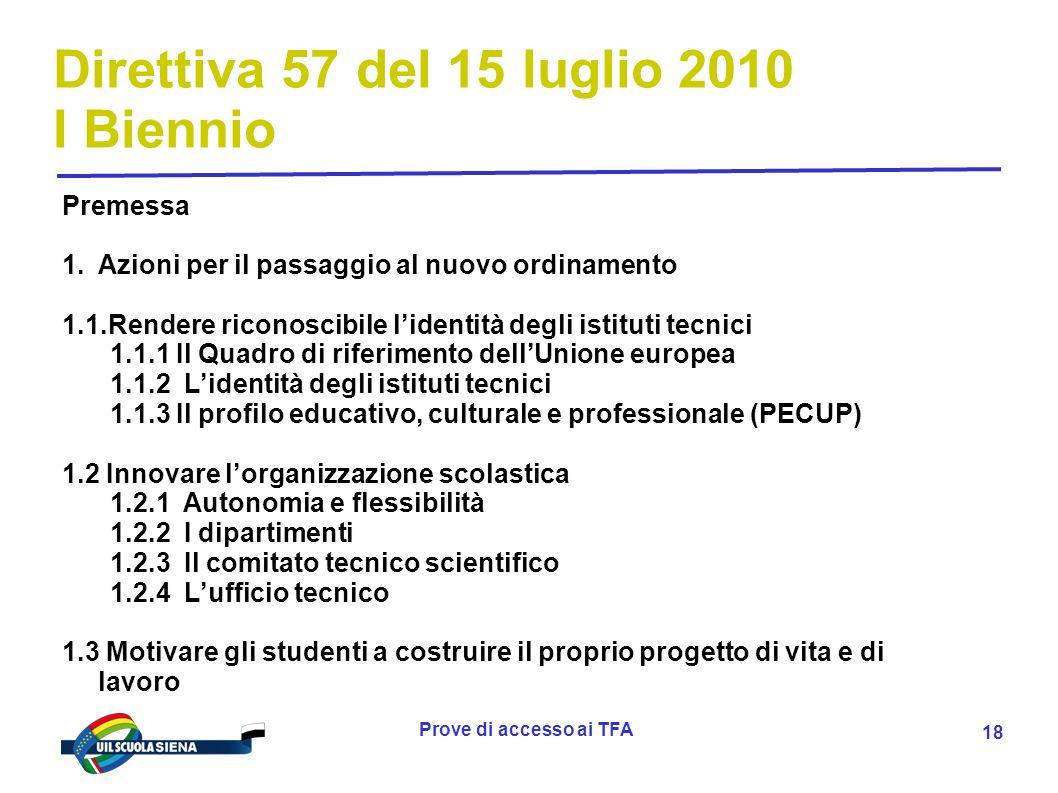 Prove di accesso ai TFA 19 Direttiva 57 del 15 luglio 2010 I Biennio 1.4 Realizzare alleanze formative sul territorio con il mondo del lavoro, delle professioni e della ricerca 1.5 Progettare e valutare per competenze 1.5.1 Insegnare per sviluppare competenze 1.5.2 Operare per progetti 1.5.3 Valutare le competenze sviluppate