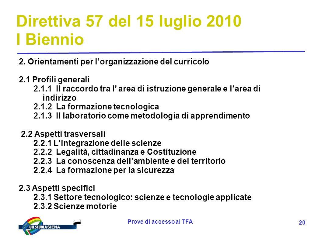 Prove di accesso ai TFA 21 Direttiva 57 del 15 luglio 2010 I Biennio ALLEGATO A) declinazione dei risultati di apprendimento in conoscenze e abilità per il primo biennio A.1 Settore economico A.2 Settore tecnologico