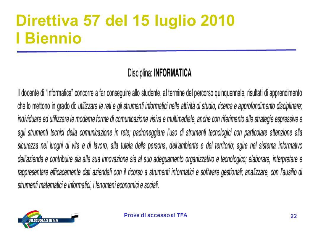 Prove di accesso ai TFA 23 Direttiva 57 del 15 luglio 2010 I Biennio