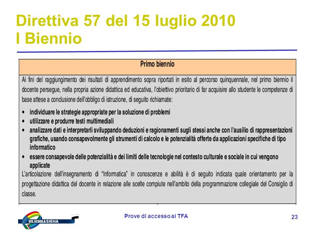 Prove di accesso ai TFA 24 Direttiva 57 del 15 luglio 2010 I Biennio