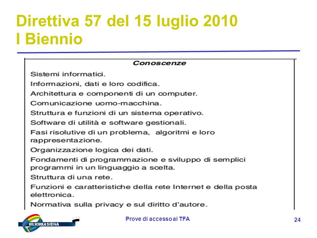 Prove di accesso ai TFA 25 Direttiva 57 del 15 luglio 2010 I Biennio