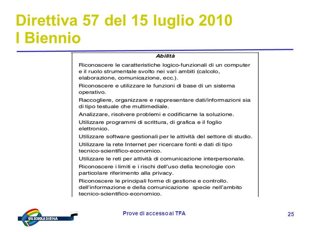 Prove di accesso ai TFA 26 Direttiva 4 del 16 gennaio 2012 II Biennio e V anno 1.Lo sviluppo della nuova offerta formativa degli Istituti Tecnici 1.1 La prospettiva culturale e professionale 1.1.1 Lintegrazione tra cultura umanistica, scientifica e tecnologica 1.1.2 Levoluzione delle professioni tecniche e le nuove competenze richieste 1.1.3 Lo sviluppo della qualità dellistruzione tecnica 1.2 La prospettiva curricolare 1.2.1 Larticolazione del secondo biennio e del quinto anno per la promozione progressiva delle competenze degli studenti 1.2.2 Lorientamento alla scelta post-secondaria