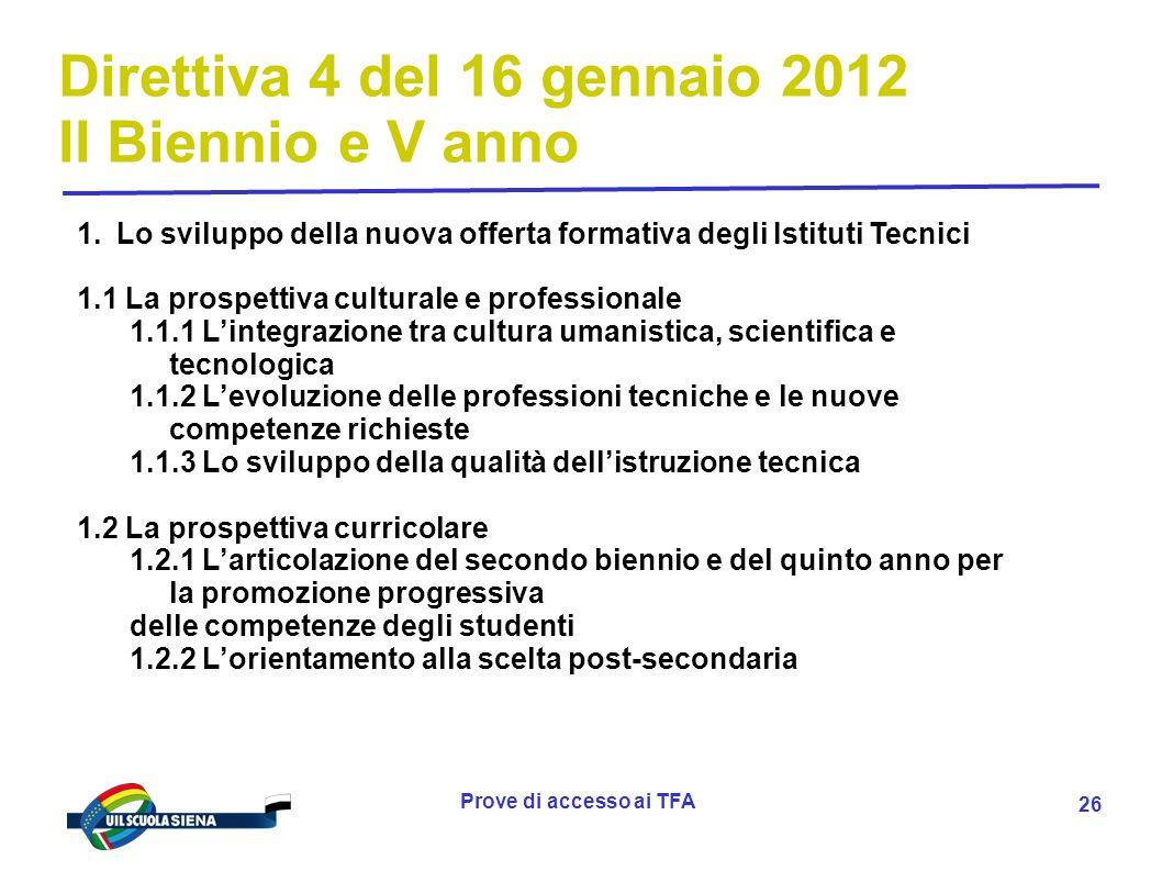 Prove di accesso ai TFA 27 Direttiva 4 del 16 gennaio 2012 II Biennio e V anno 2.