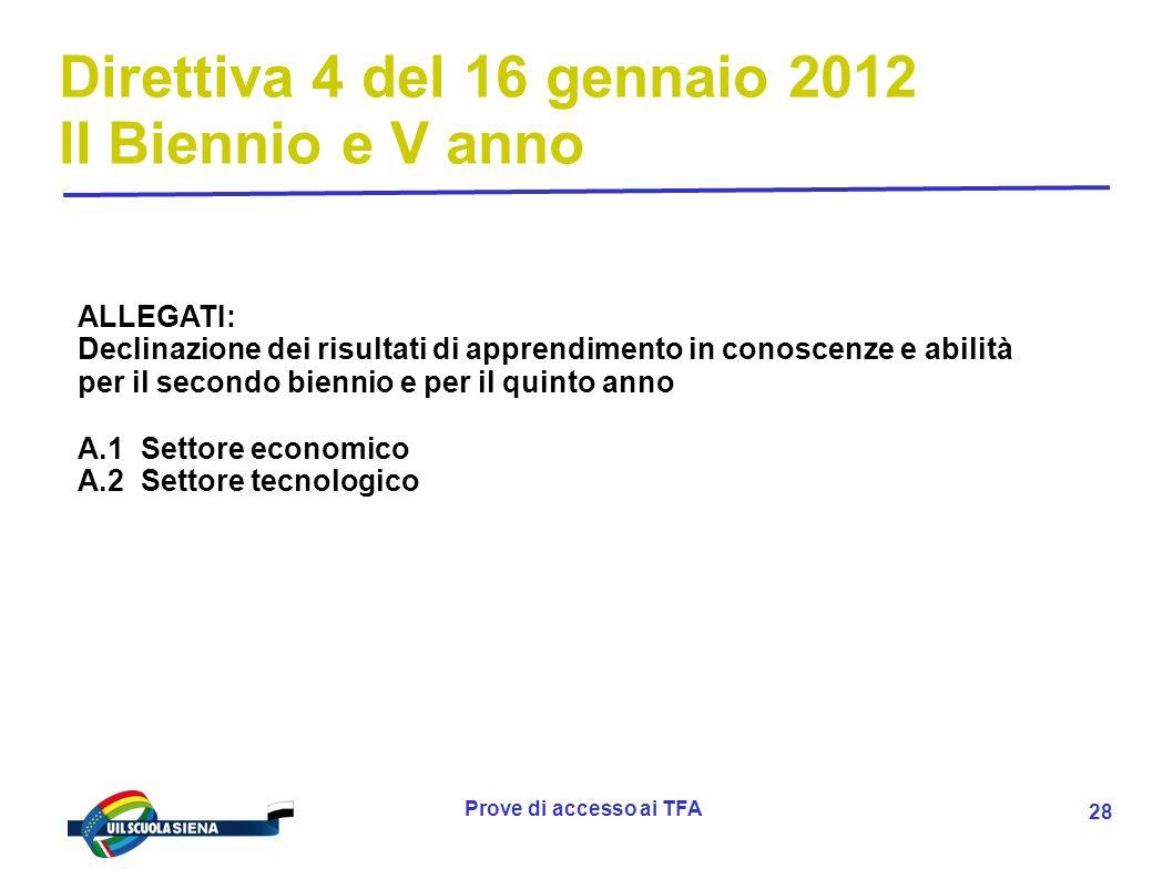 Prove di accesso ai TFA 29 Direttiva 4 del 16 gennaio 2012 II Biennio e V anno