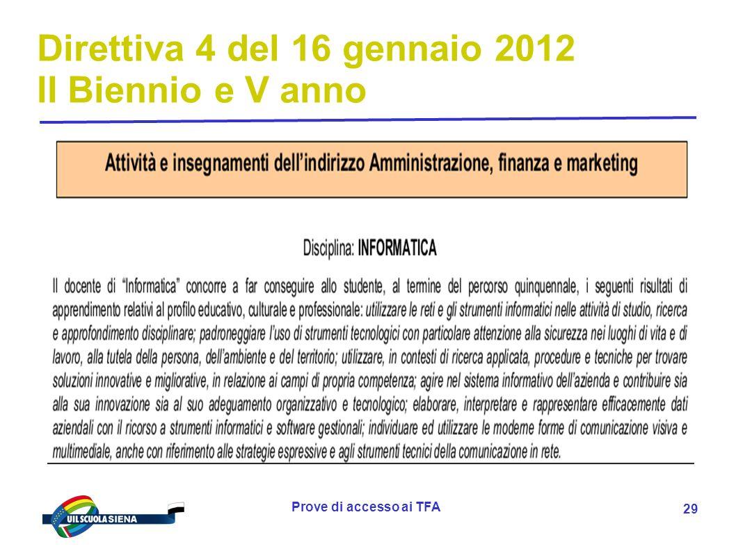 Prove di accesso ai TFA 30 Direttiva 4 del 16 gennaio 2012 II Biennio e V anno