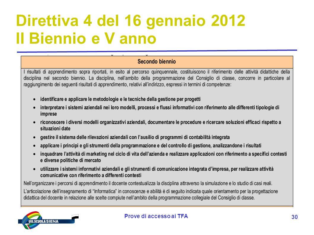 Prove di accesso ai TFA 31 Direttiva 4 del 16 gennaio 2012 II Biennio e V anno