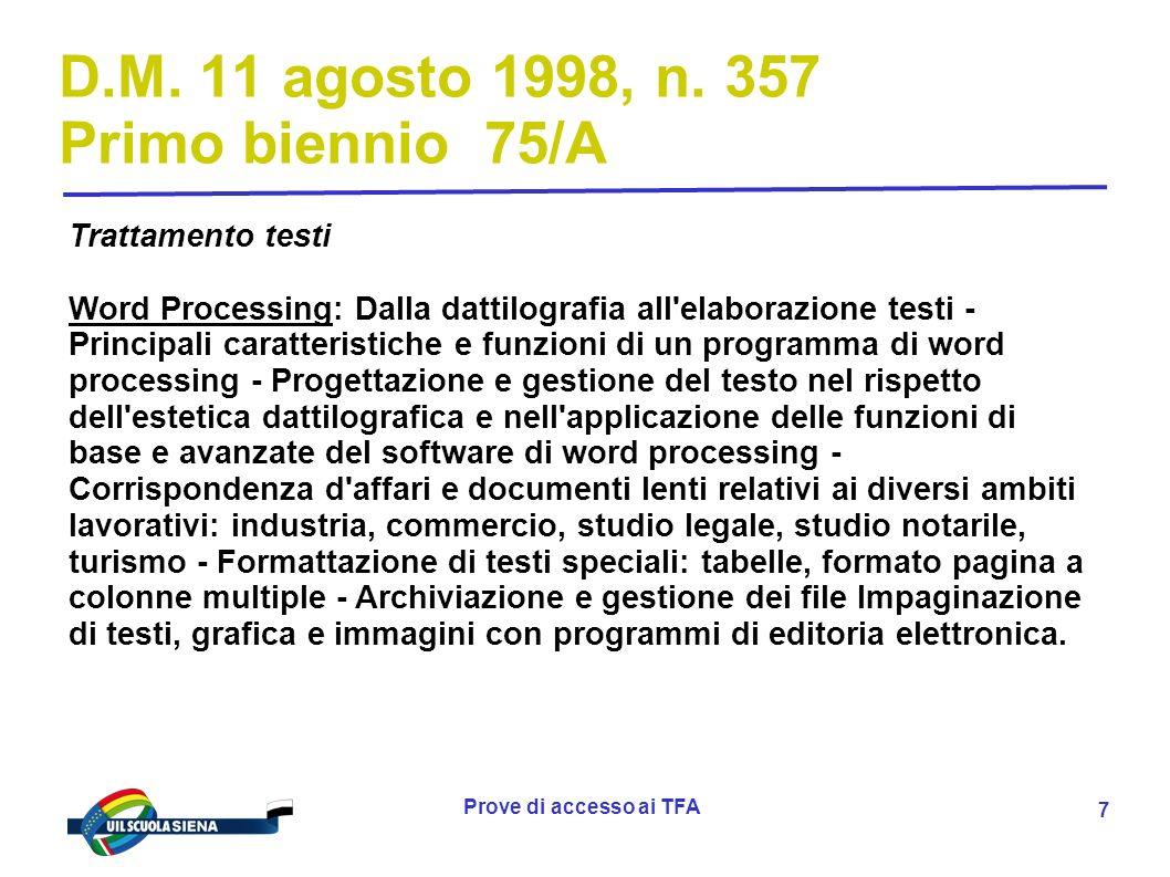 Prove di accesso ai TFA 8 D.M.11 agosto 1998, n.