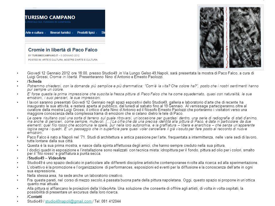 Giovedì 12 Gennaio 2012 ore 18:00, presso Studio49,in Via Lungo Gelso 49,Napoli, sarà presentata la mostra di Paco Falco, a cura di Luigi Grossi, Cromie in libertà.