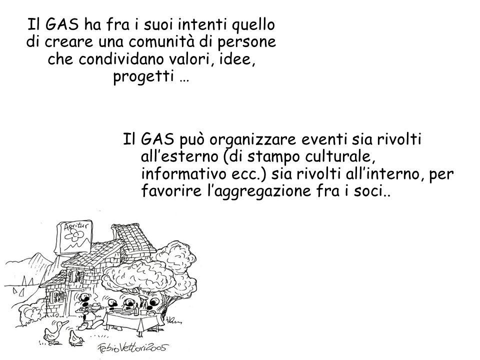 Il GAS può organizzare eventi sia rivolti allesterno (di stampo culturale, informativo ecc.) sia rivolti allinterno, per favorire laggregazione fra i