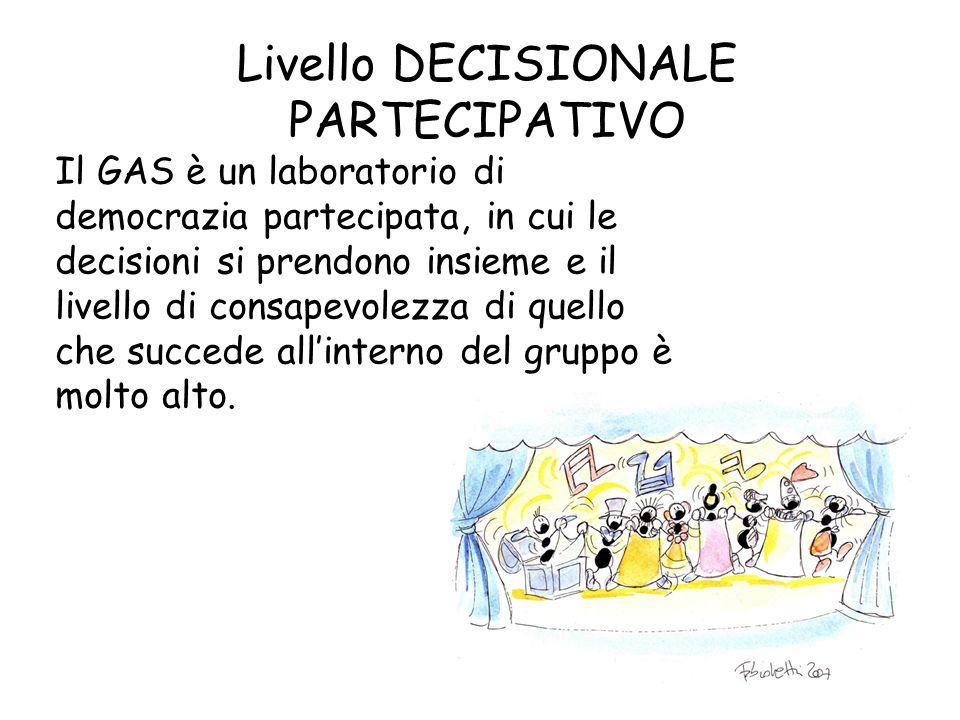 Livello DECISIONALE PARTECIPATIVO Il GAS è un laboratorio di democrazia partecipata, in cui le decisioni si prendono insieme e il livello di consapevo
