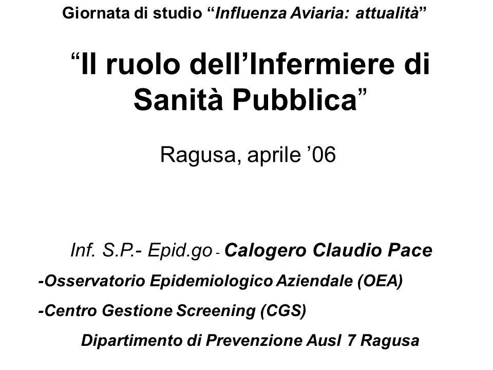 Il ruolo dellInfermiere di Sanità Pubblica Ragusa, aprile 06 Inf. S.P.- Epid.go - Calogero Claudio Pace -Osservatorio Epidemiologico Aziendale (OEA) -
