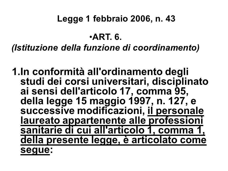 Legge 1 febbraio 2006, n. 43 ART. 6. (Istituzione della funzione di coordinamento) 1.In conformità all'ordinamento degli studi dei corsi universitari,