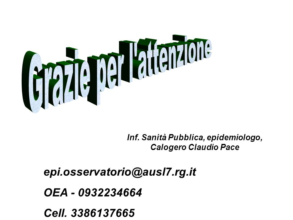epi.osservatorio@ausl7.rg.it OEA - 0932234664 Cell. 3386137665 Inf. Sanità Pubblica, epidemiologo, Calogero Claudio Pace