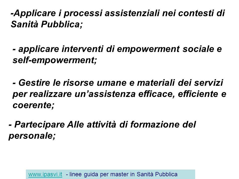 -Applicare i processi assistenziali nei contesti di Sanità Pubblica; - applicare interventi di empowerment sociale e self-empowerment; - Gestire le ri