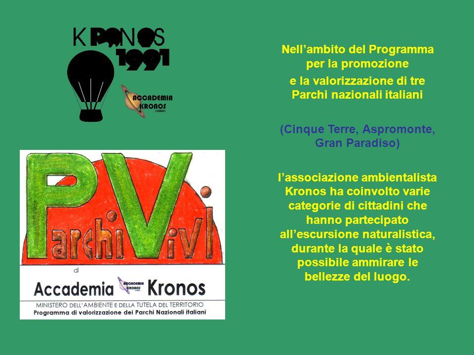 Nellambito del Programma per la promozione e la valorizzazione di tre Parchi nazionali italiani (Cinque Terre, Aspromonte, Gran Paradiso) lassociazion