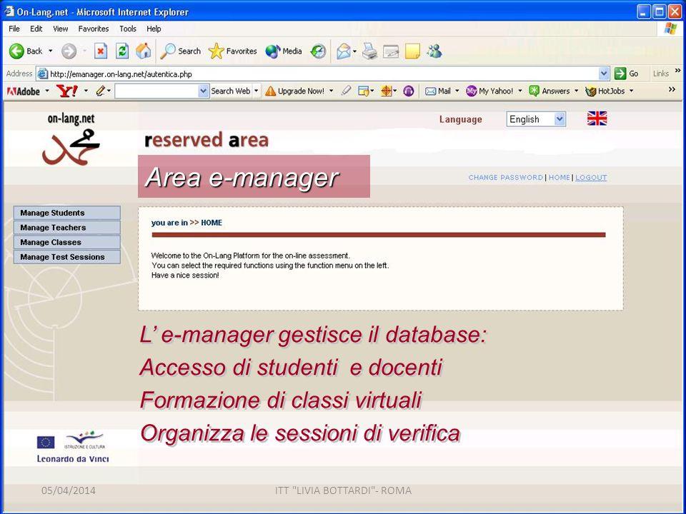 L e-manager gestisce il database: Accesso di studenti e docenti Formazione di classi virtuali Organizza le sessioni di verifica L e-manager gestisce il database: Accesso di studenti e docenti Formazione di classi virtuali Organizza le sessioni di verifica Area e-manager 05/04/2014ITT LIVIA BOTTARDI - ROMA