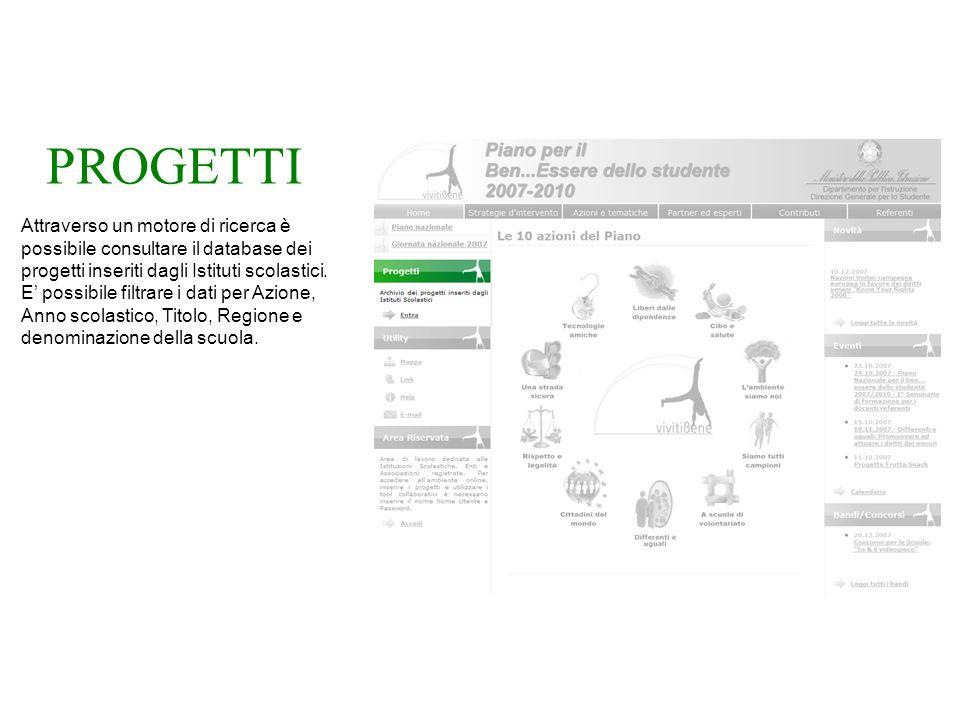 PROGETTI Attraverso un motore di ricerca è possibile consultare il database dei progetti inseriti dagli Istituti scolastici.