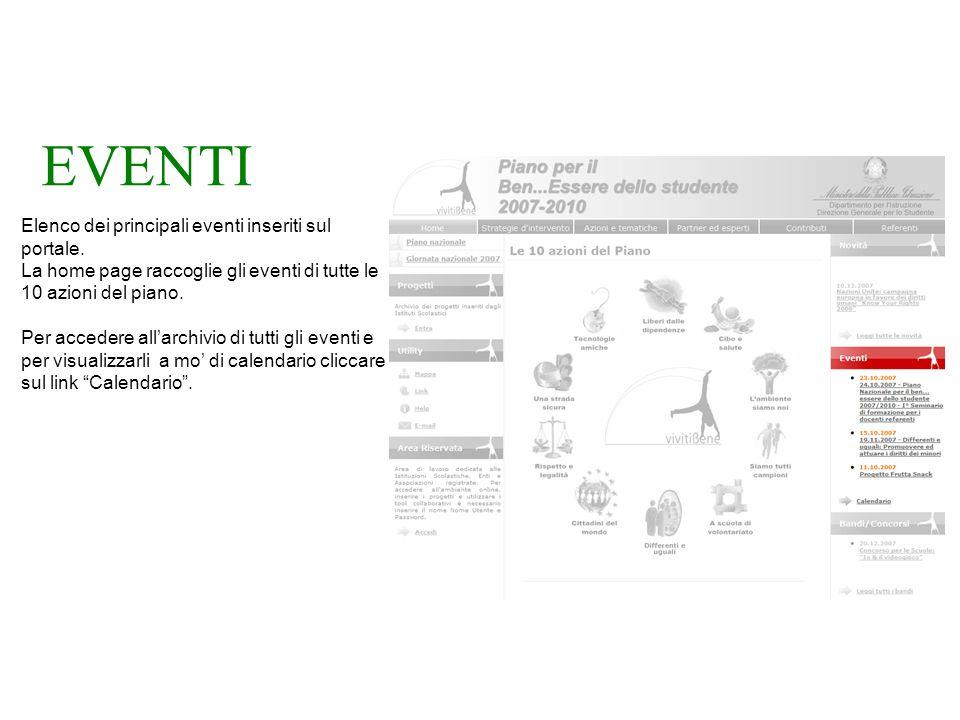 EVENTI Elenco dei principali eventi inseriti sul portale.