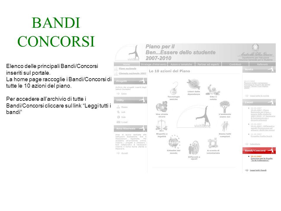 BANDI CONCORSI Elenco delle principali Bandi/Concorsi inseriti sul portale.