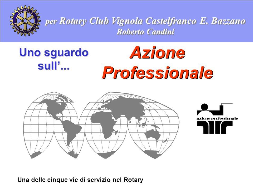 Azione Professionale Uno sguardo sull... Una delle cinque vie di servizio nel Rotary per Rotary Club Vignola Castelfranco E. Bazzano Roberto Candini