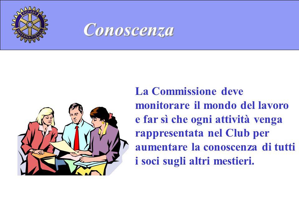 La Commissione deve monitorare il mondo del lavoro e far sì che ogni attività venga rappresentata nel Club per aumentare la conoscenza di tutti i soci
