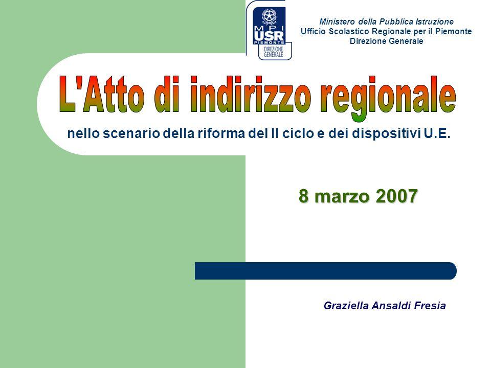 8 marzo 2007 Graziella Ansaldi Fresia Ministero della Pubblica Istruzione Ufficio Scolastico Regionale per il Piemonte Direzione Generale nello scenar