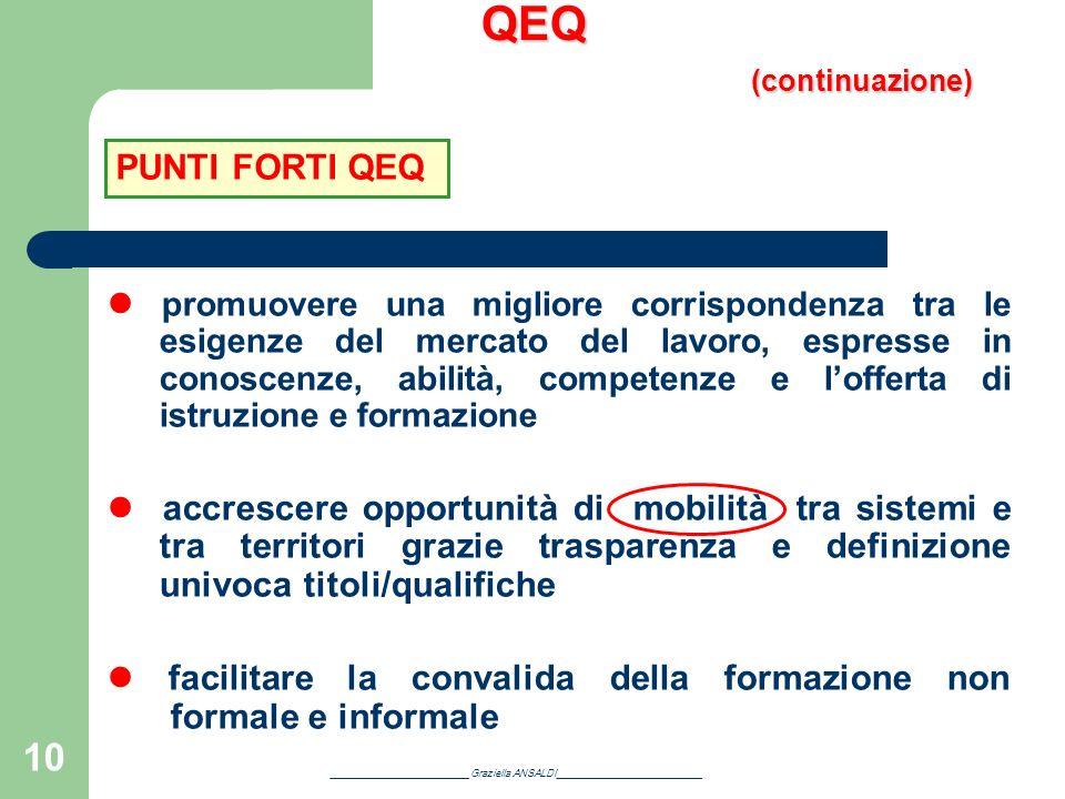 10 QEQ (continuazione) promuovere una migliore corrispondenza tra le esigenze del mercato del lavoro, espresse in conoscenze, abilità, competenze e lo