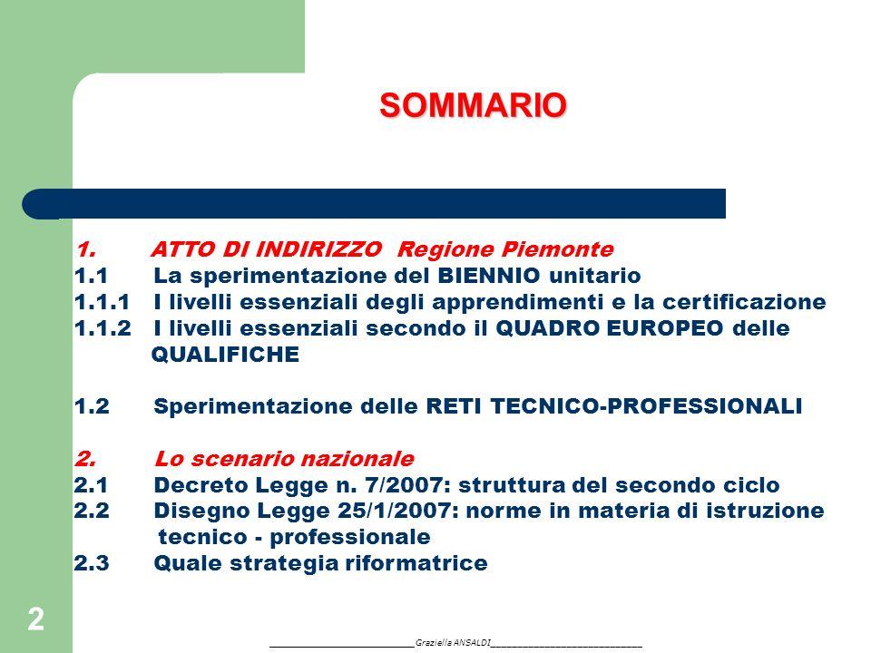 2 SOMMARIO 1. ATTO DI INDIRIZZO Regione Piemonte 1.1 La sperimentazione del BIENNIO unitario 1.1.1 I livelli essenziali degli apprendimenti e la certi