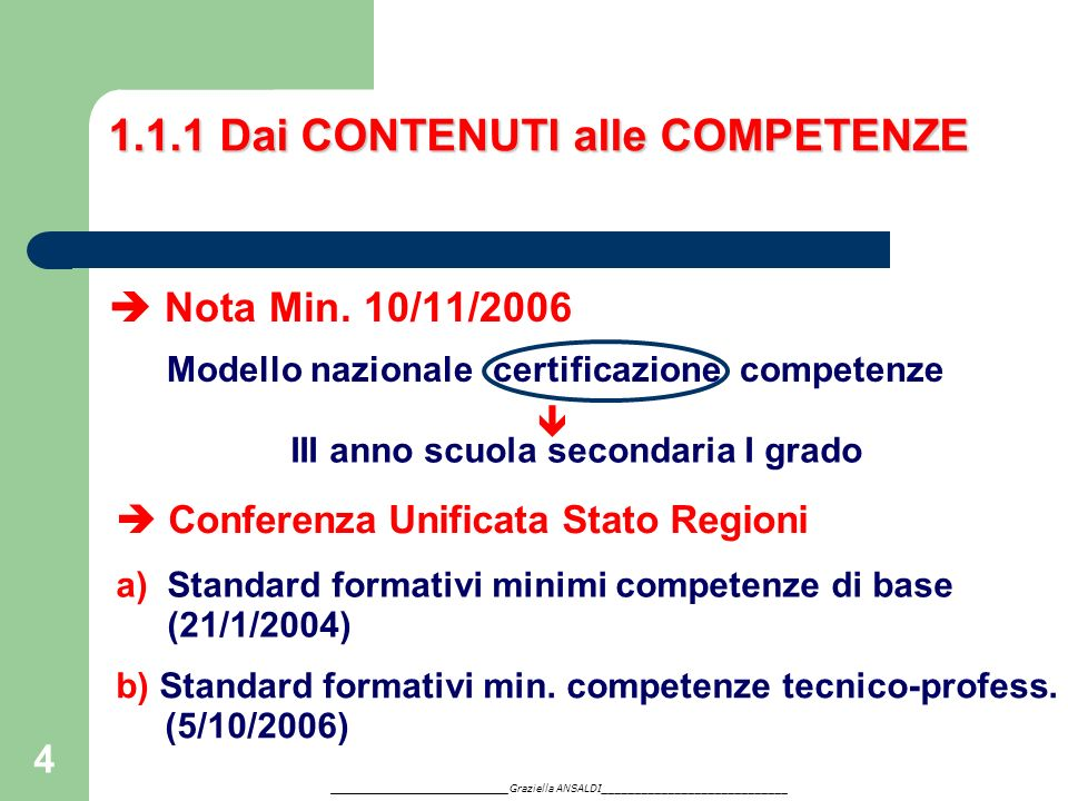 4 1.1.1 Dai CONTENUTI alle COMPETENZE Nota Min. 10/11/2006 Modello nazionale certificazione competenze III anno scuola secondaria I grado Conferenza U