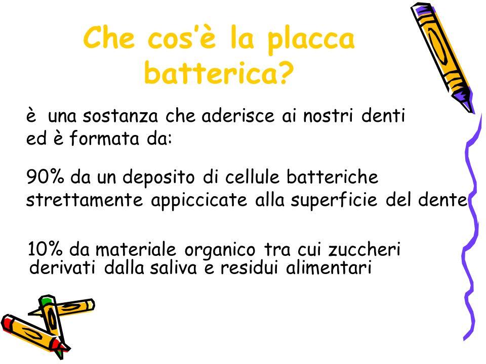 Che cosè la placca batterica? 10% da materiale organico tra cui zuccheri derivati dalla saliva e residui alimentari è una sostanza che aderisce ai nos